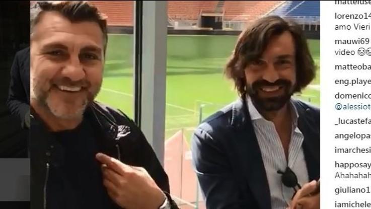 Bobo Vieri imita Pirlo, la replica del Maestro è esilarante VIDEO