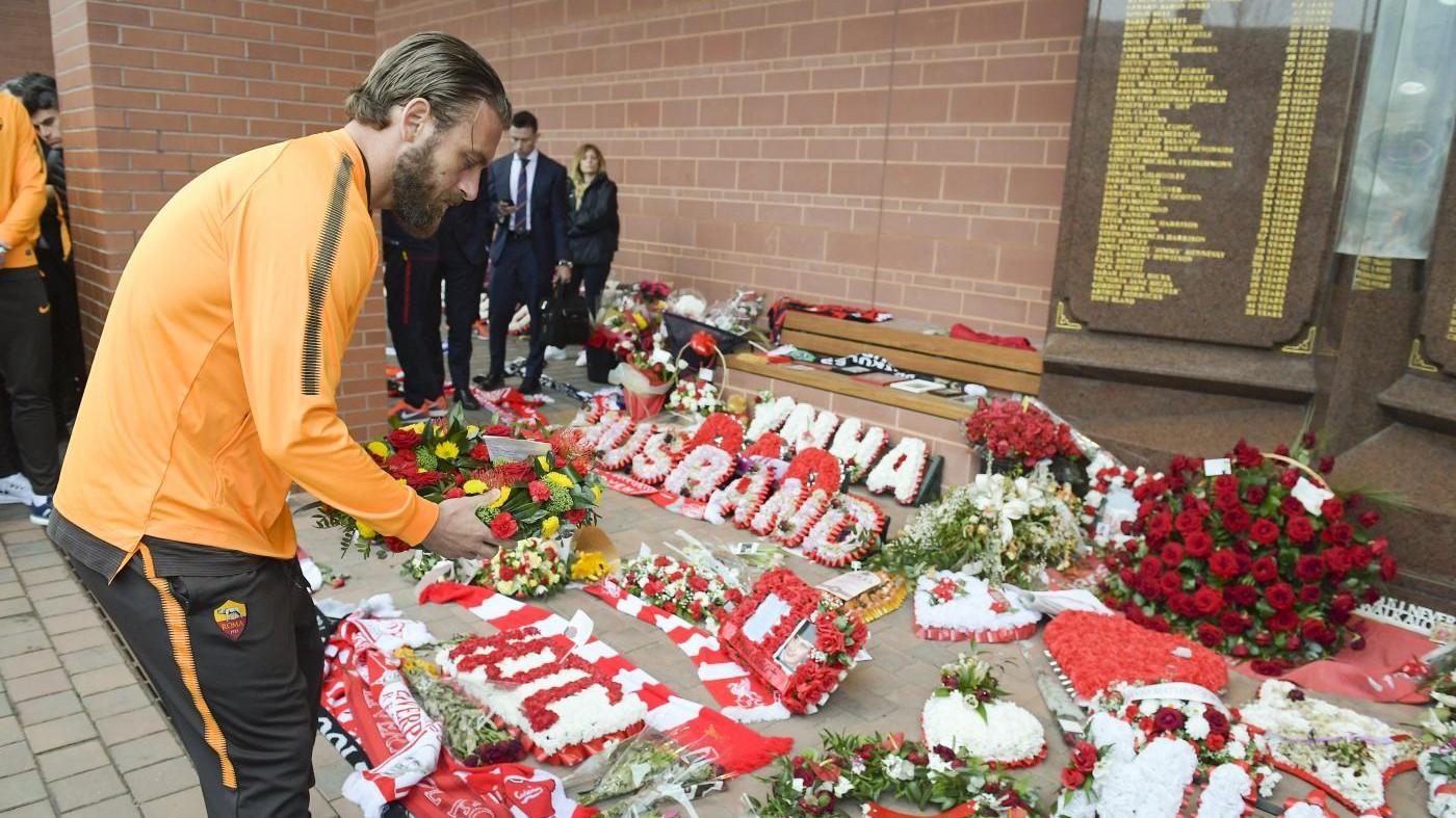 Liverpool-Roma, l'omaggio dei giallorossi a Hillsborough