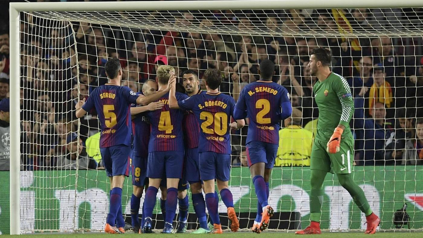 Roma, autoreti, sfortuna e tanto Barca. Sconfitta (4-1) al Camp Nou