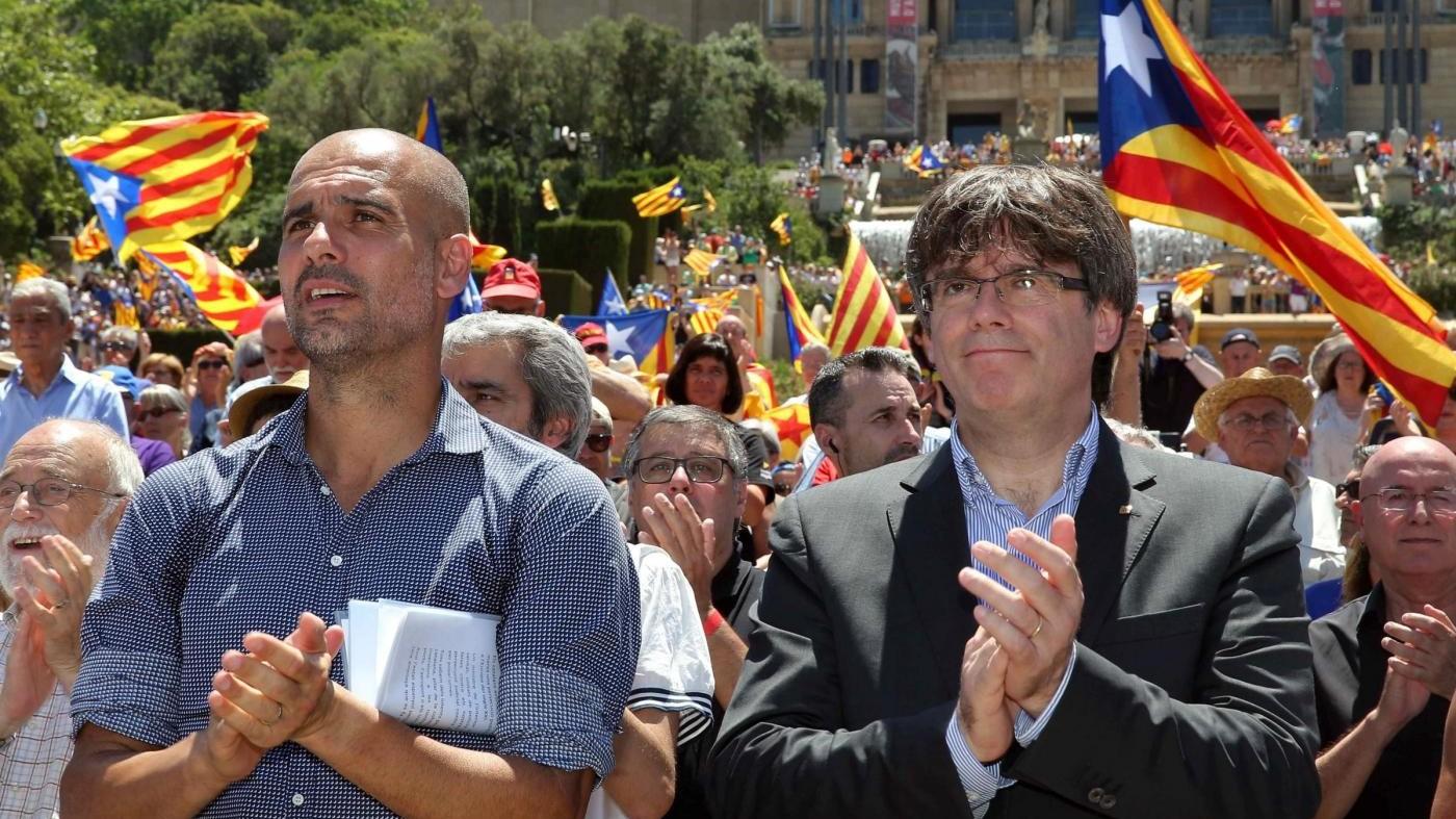 """Catalogna, Guardiola: """"Vogliamo solo votare, si tratta di democrazia"""""""