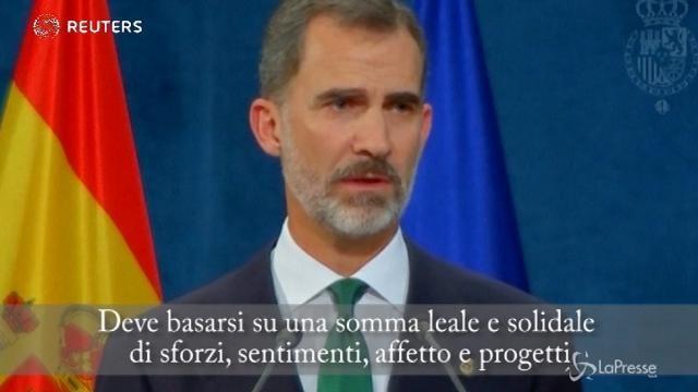 """Catalogna, re Felipe: """"E' e sarà parte della Spagna. Secessione inaccettabile"""""""