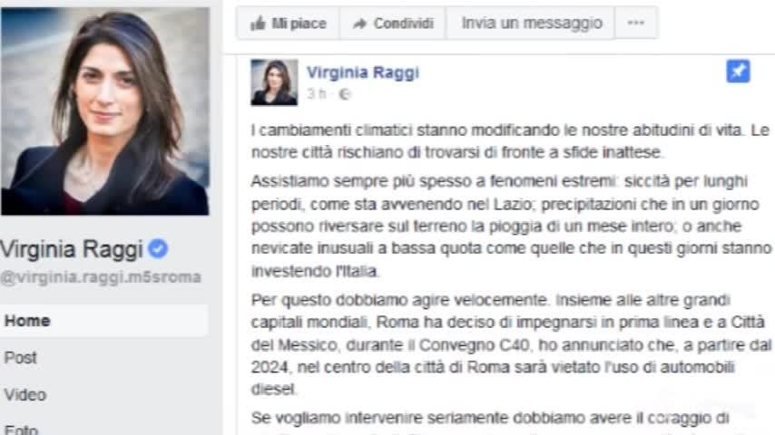 "Roma, Raggi: ""Stop ai motori Diesel dal 2024"""