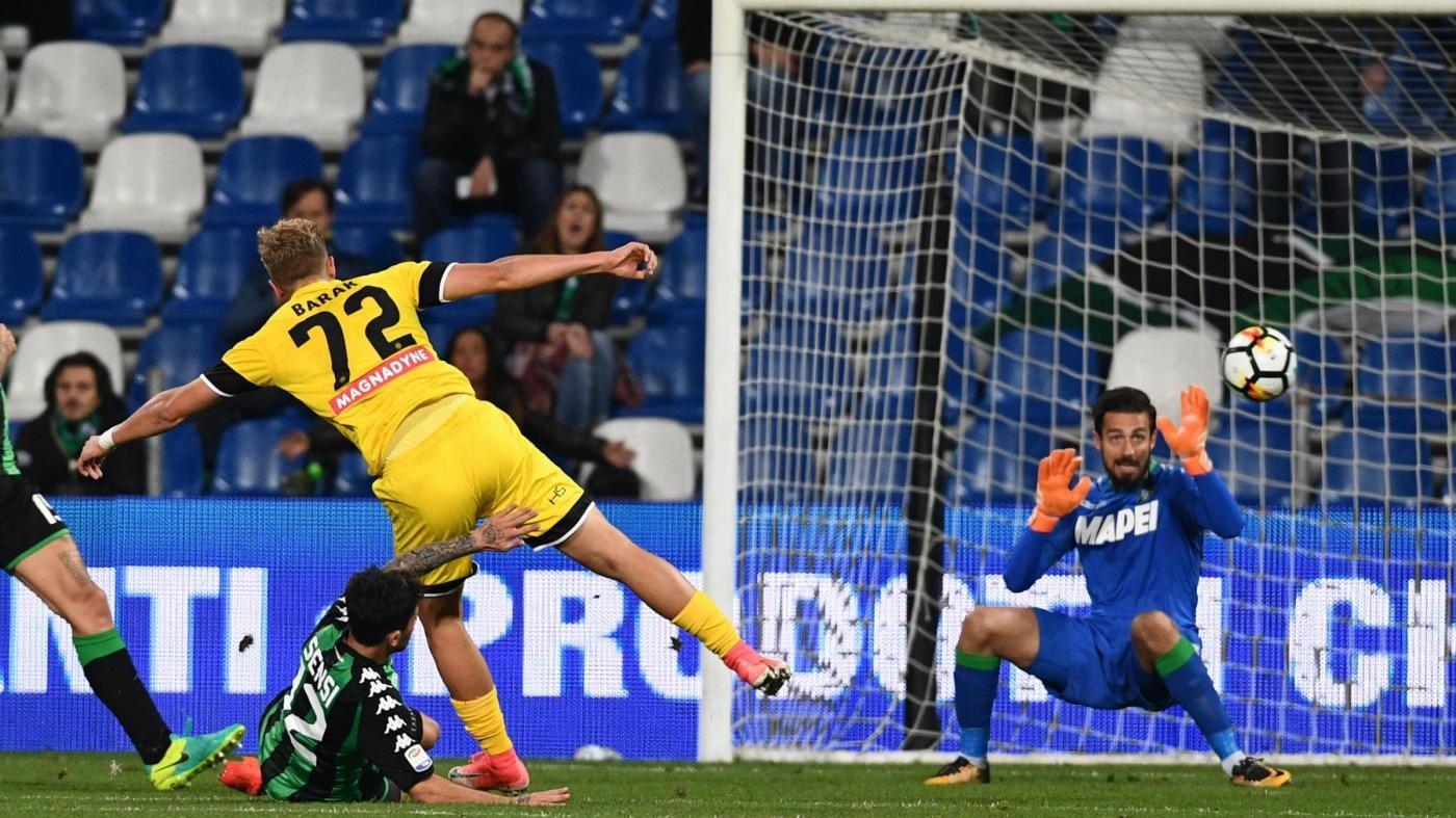 Serie A, Barak stende il Sassuolo: l'Udinese torna a sorridere