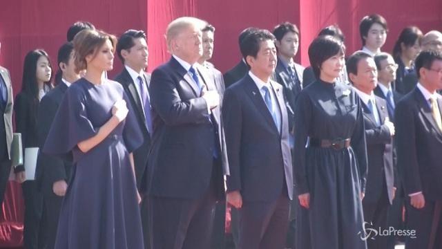 Donald Trump e la moglie Melania al Palazzo di Akasaka di Tokio
