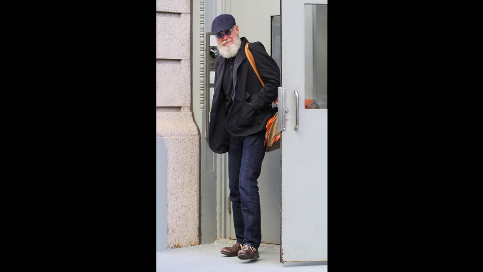 David Letterman irriconoscibile sotto la lunga barba bianca ©ARIS