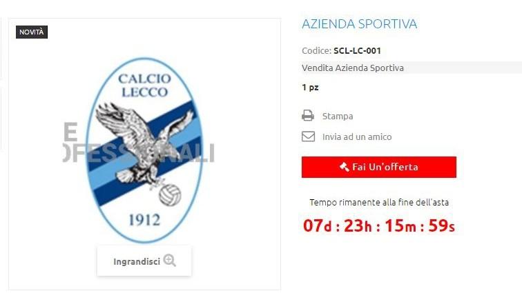 Lecco calcio acquistabile online: società lo segnala su Facebook