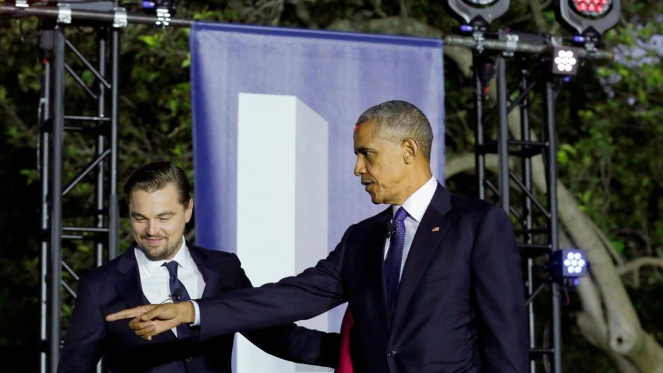 Washington, Obama e DiCaprio all'evento South by South Lawn sul clima ©LaPresse/Reuters