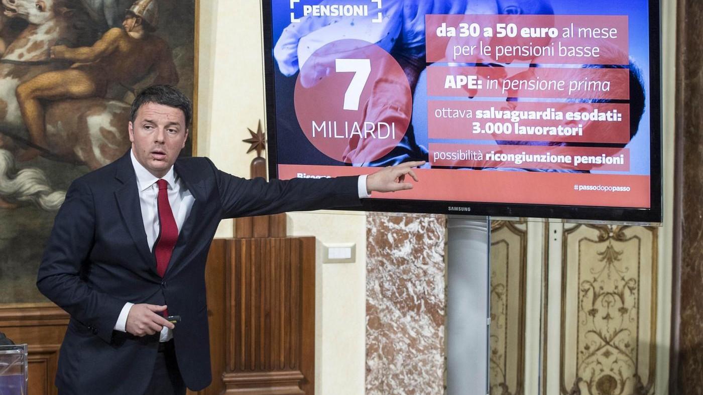 Manovra, Renzi: Da 30 a 50 euro per pensioni più basse