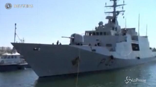 L'arrivo della nave Comandante Borsini a Tripoli