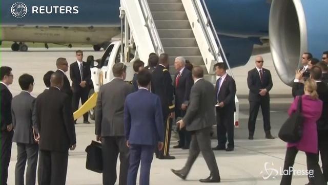 VIDEO Il vicepresidente Usa Pence è arrivato a Seul