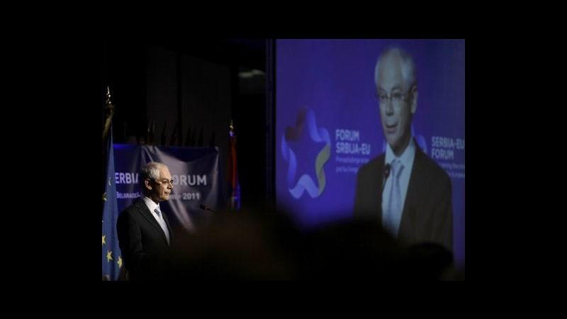 Serbia, Van Rompuy: Passi concreti con Kosovo per annessione a Ue