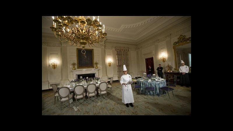 Cena di Stato Obama-Hollande: in menu vino americano e insalata di Michelle