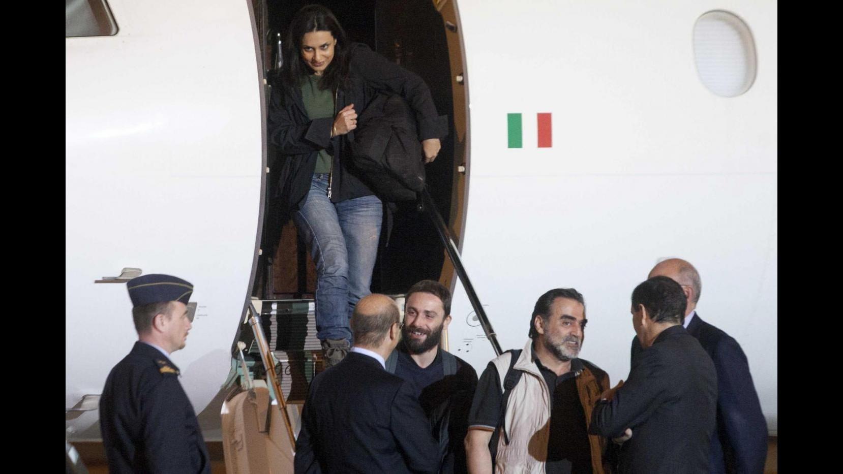 Siria, arrivati a Ciampino i 4 giornalisti italiani liberati oggi