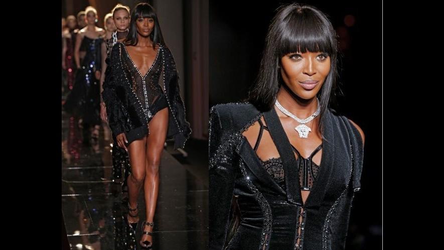 Versace con la pantera Naomi Campbell apre l'haute couture parigina