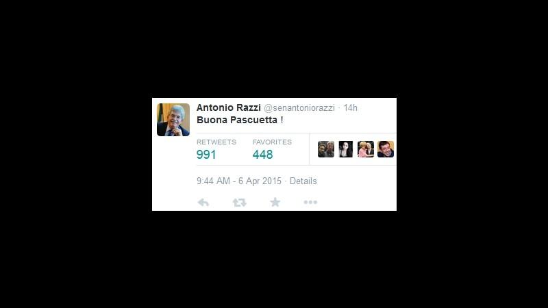 Razzi twitta 'Buona Pascuetta' e il web si scatena sull'errore