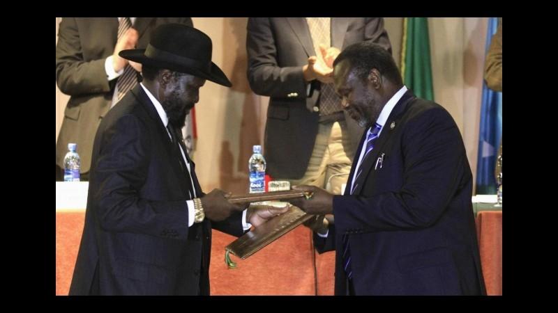 Sud Sudan,il presidente Salva Kiir ha firmato l'accordo di pace coi ribelli