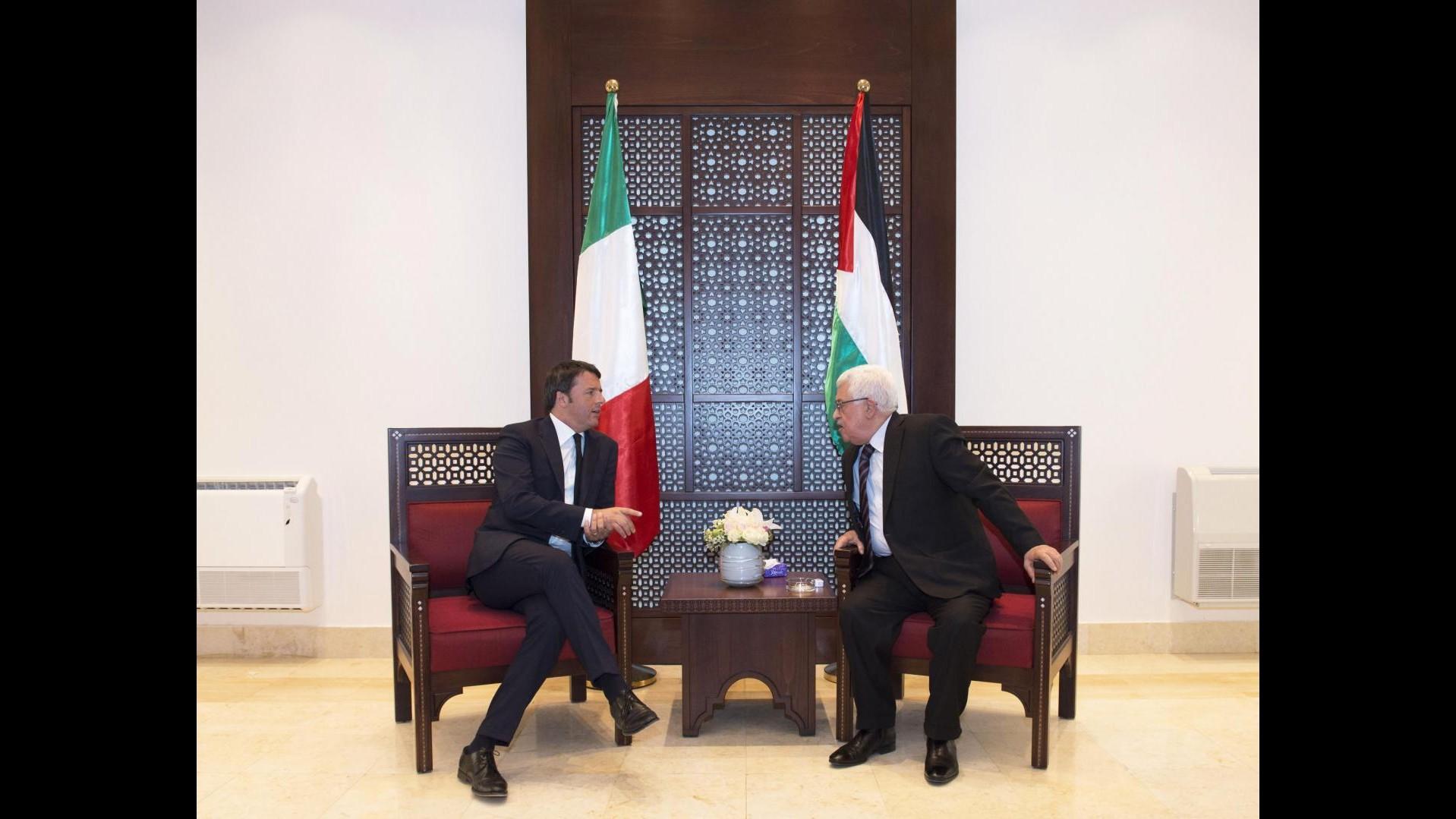 Palestina, Renzi: Ogni sforzo va fatto verso la soluzione di due popoli e due Stati