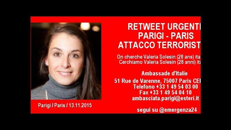 Parigi, fonti vicine a italiana dispersa: Valeria è morta