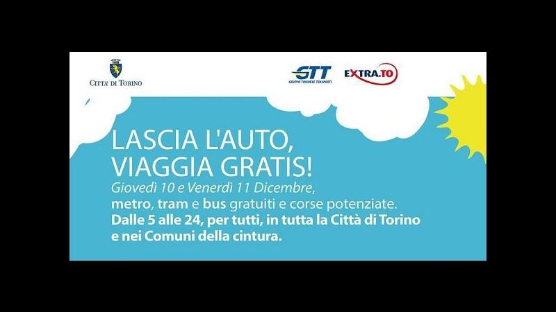 Torino, mezzi pubblici gratis domani e venerdì: 2 giorni contro smog
