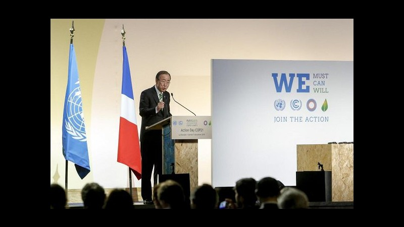 Cop21, Ban ki-Moon: Tempo sta scadendo, rischio catastrofe climatica