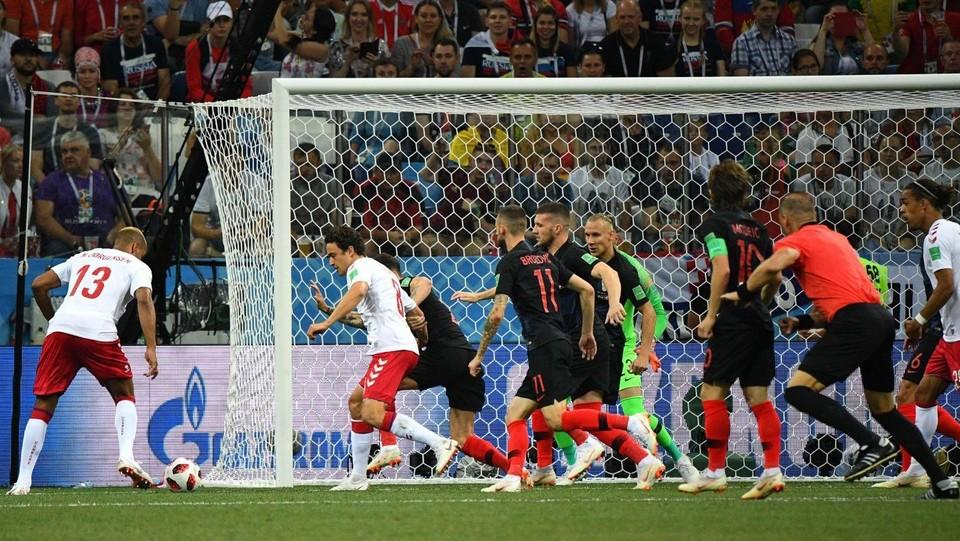 1' Danimarca subito in vantaggio grazie al gol di Jorgensen ©AFP/LaPresse