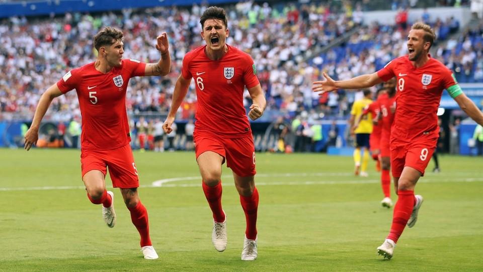 Harry Maguire festeggia il primo gol dell'Inghilterra contro la Svezia ©PA/Lapresse
