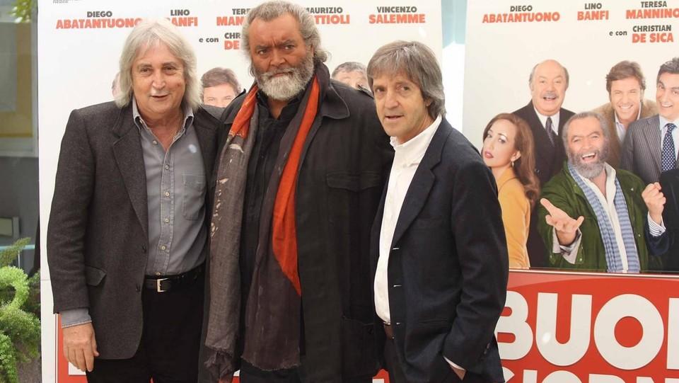 Enrico e Carlo Vanzina con Diego Abatantuono alla presentazione del film di ''Buona Giornata'' del 2012 ©LaPresse/Claudio Bernardi
