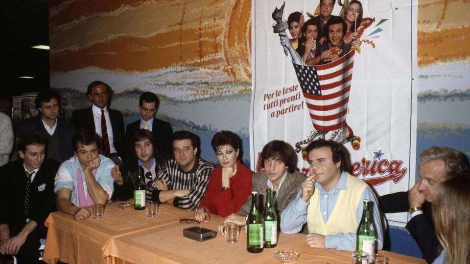 Carlo Vanzina e il cast del film 'Vacanze in America' del 1984 ©Archivio Cioni-Spinelli/LaPresse