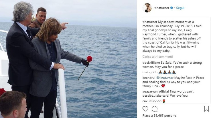 """L'addio di Tina Turner al figlio suicida: """"Sarai sempre il mio bambino"""""""