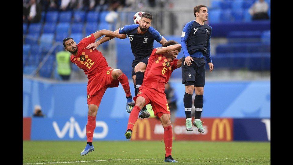 Nacer Chadli (Belgio), Olivier Giroud (Francia) e Antoine Griezmann (Francia) ©Fabio Ferrari/LaPresse