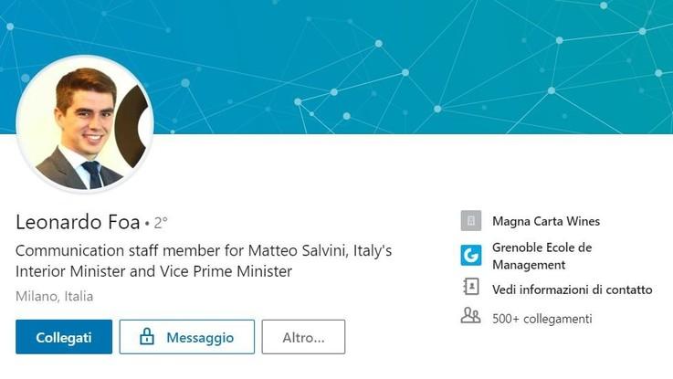 Leonardo, figlio di Marcello Foa, lavora nello staff di Salvini