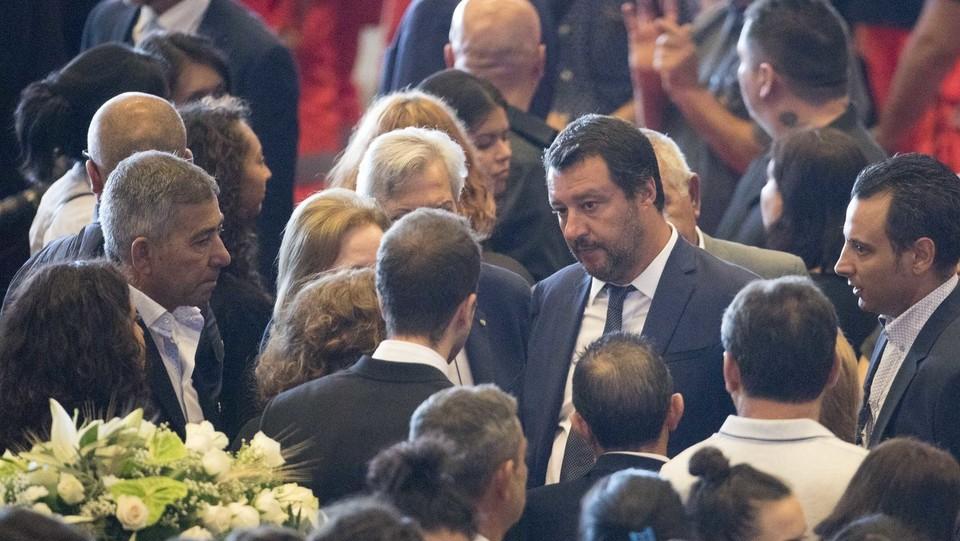 Salvini ai funerali solenni per le vittime ©Mauro Ujetto/LaPresse