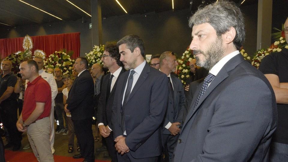 Il presidente della Camera, Roberto Fico, ai funerali solenni ©Stefano Cavicchi/LaPresse