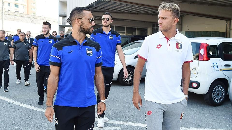 I calciatori Fabio Quagliarella (Sampdoria) e Domenico Criscito (Genoa) ©Tano Pecoraro/LaPresse