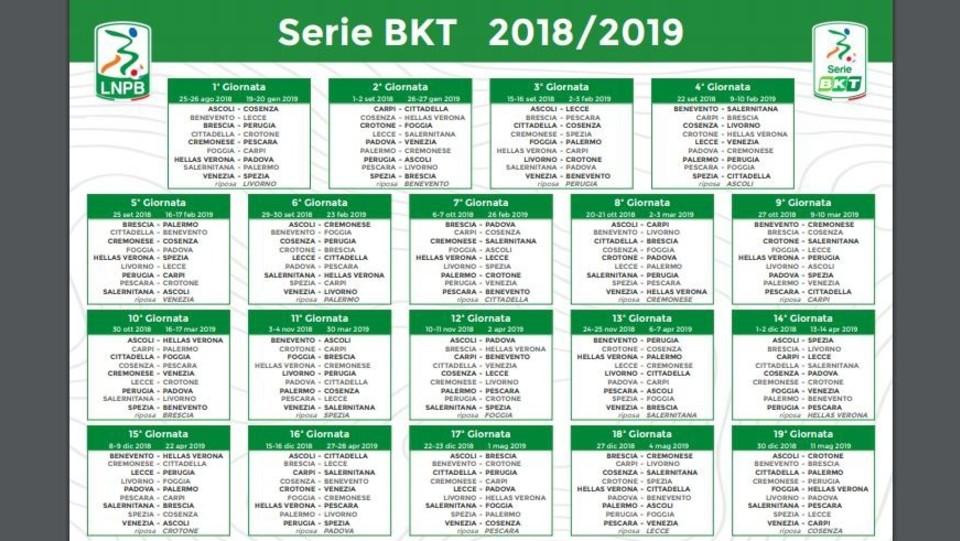 Calendario Verona.Il Calendario Della Serie B 2018 2019