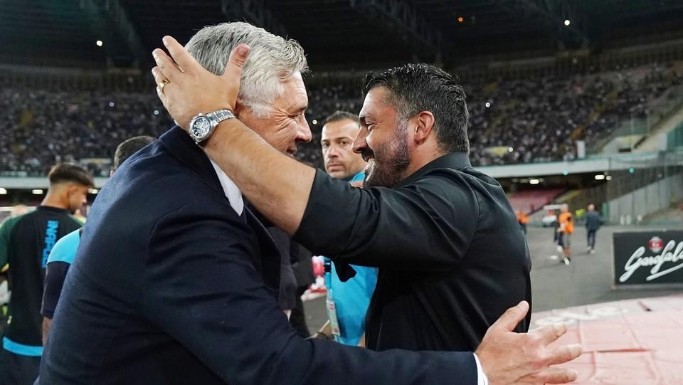 L'abbraccio tra Ancelotti e Gattuso ©Spada/LaPresse