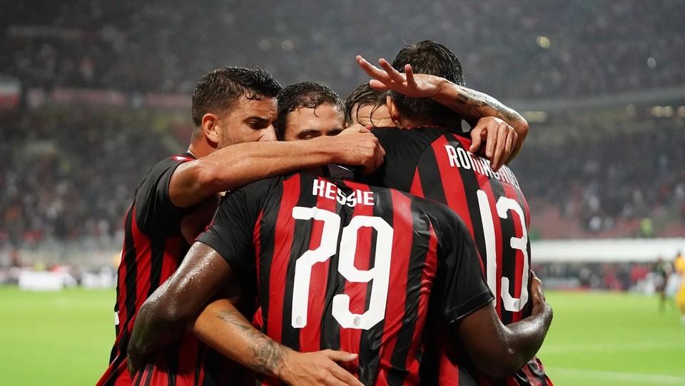 L'esultanza del Milan dopo il primo gol ©Spada/LaPresse