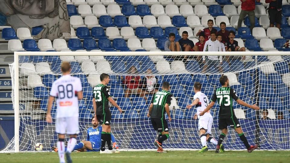 Piatek segna il gol del 5-3 ©Massimo Paolone/LaPresse