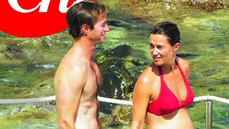 Pippa Middleton raggiante al settimo mese: col marito sull'Argentario
