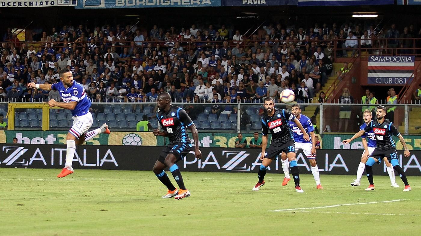 Grande Samp, crolla il Napoli. Supergol di Quagliarella: 3-0