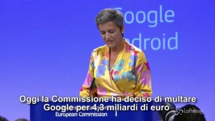 Maxi multa per Google, l'annuncio della commissaria Vestager