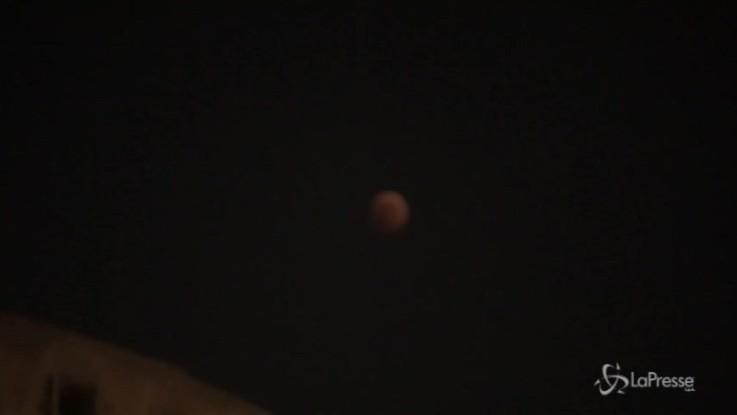 La Luna si tinge di rosso: al Colosseo tutti col naso all'insù per l'eclissi totale più lunga del secolo