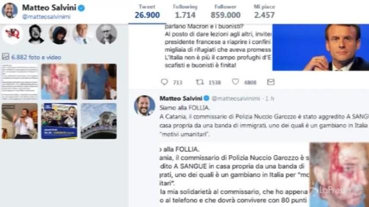 """Aggressione a commissario a Catania, Salvini: """"Siamo alla follia"""""""