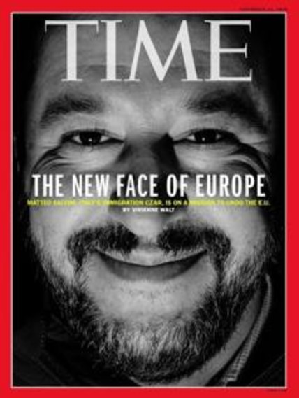 """""""Il nuovo volto dell'Europa"""". Salvini sulla copertina del Time"""