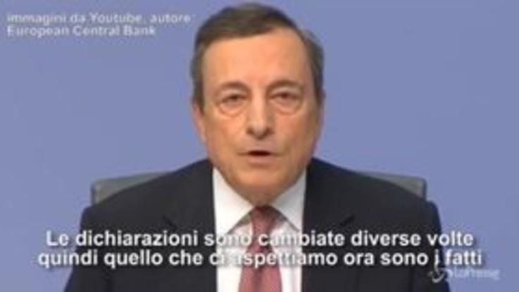 """Bce, Draghi su Italia dopo Moscovici: """"Parole governo hanno fatto danni"""""""