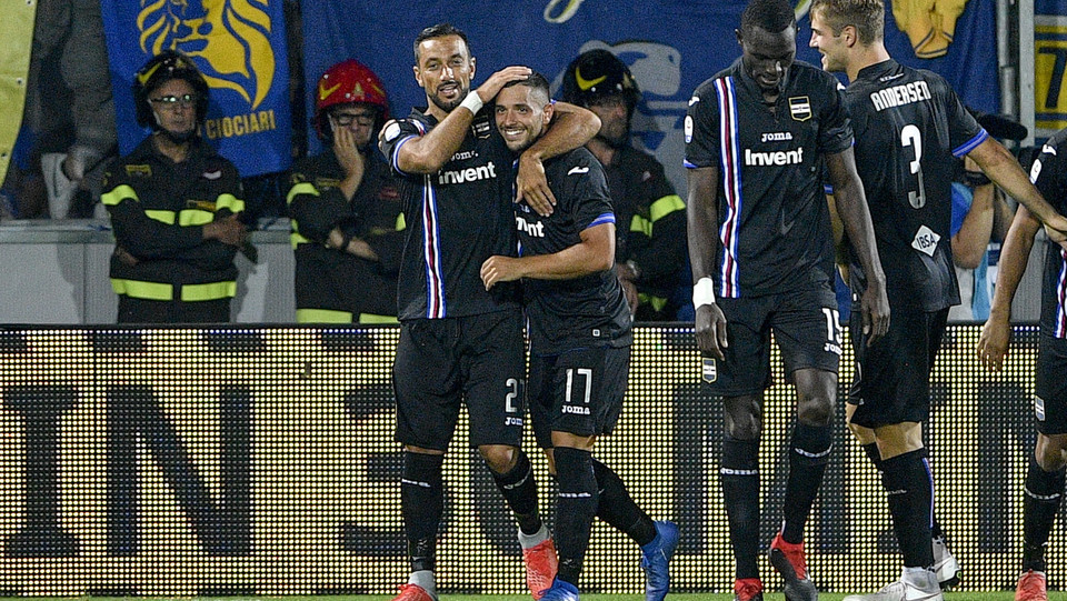 Quagliarella e Gianluca Caprari esultano dopo il gol 0-2 ©