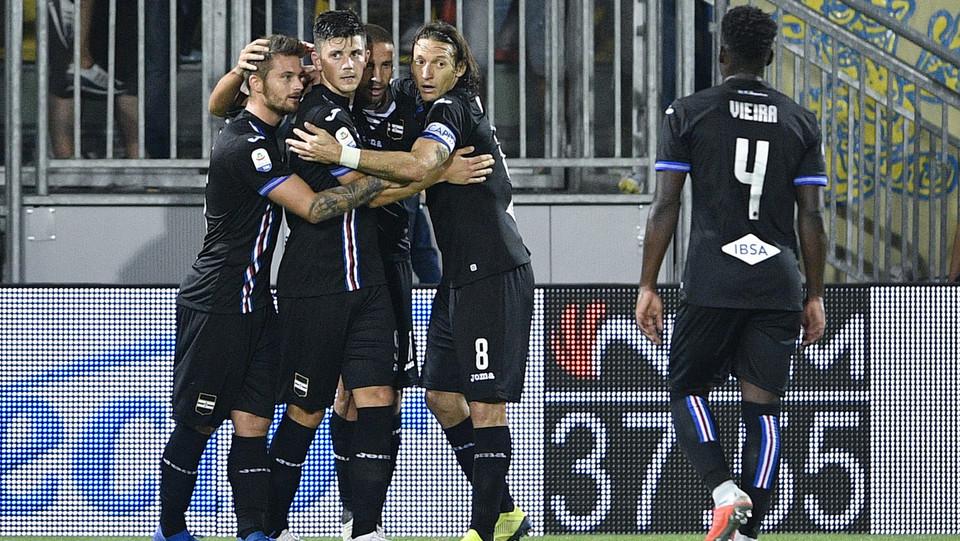 Esultanza dei giocatori della Sampdoria dopo il gol del 0-4 ©