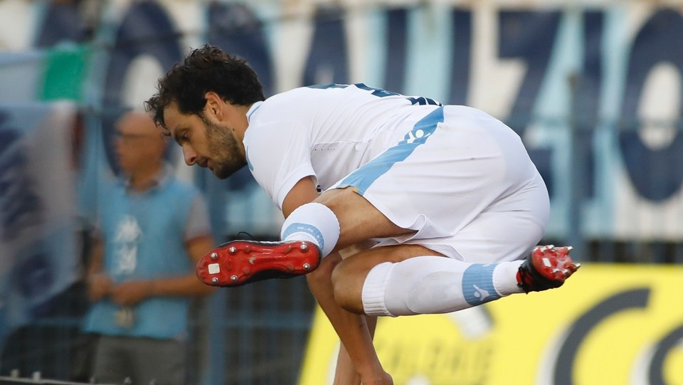 Marco Parolo esulta dopo aver segnato il primo gol ©