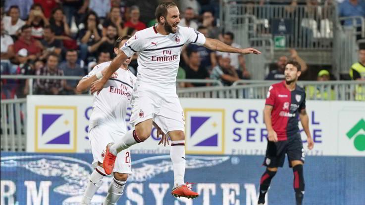 Serie A, Higuain risponde a Joao Pedro: Milan rallenta, 1-1 a Cagliari