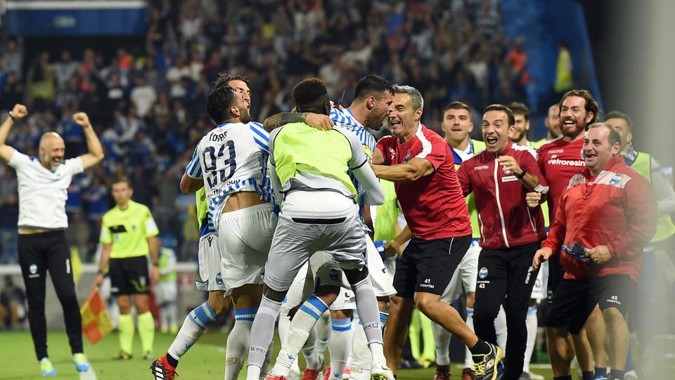 Petagna (Spal) esulta dopo aver realizzato il gol 2-0 ©